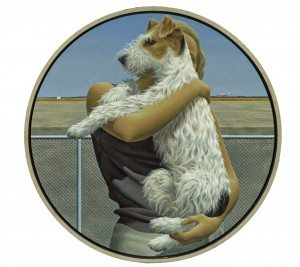 """Alex Colville, """"Woman and Terrier"""" (1963). Acrylic polymer emulsion on hardboard, private collection"""