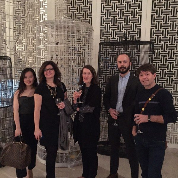 Authors Sabrina Zou, Christine Saratsiotis, Anna Smaill, Andy McGuire, and Michael Crummey partake in a Gala dinner with celebrity chef Ken Hom at the Green T. House in Beijing.