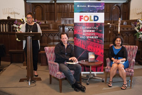 Jael Richardson with Lawrence Hill and Farzana Doctor (Photo: Fred Anderson)