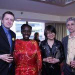 Poetry Prize finalists Rob Taylor, Juliane Okot Bitek, and Richard Therrien with Vancouver Community College dean of library, teaching, and learning services Shirley Lew (second from right) (Monica Miller)