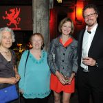 Maureen Scott Harris, Brick Books general manager Kitty Lewis, Erin Knight, and Adam Dickinson (Tom Sandler)