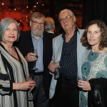 Sandra Martin, Roger Hall, bookseller Ben McNally, and author Lynn Thomson (Tom Sandler)