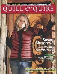 Susan Musgrave on the April 2011 cover of Quill & Quire