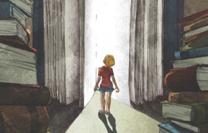 an illustration of a blonde child in shorts peering up at an oversized book that is cracked open with light shining out between the pages
